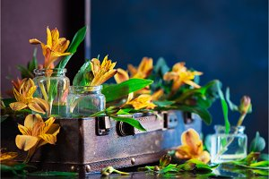Floral header with yellow flowers in