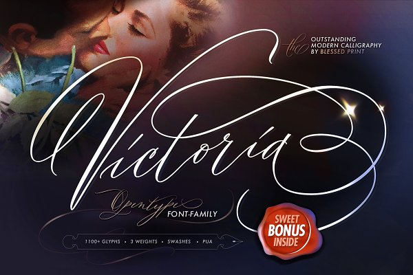 Script Fonts: Blessed Print - Outstanding Victoria