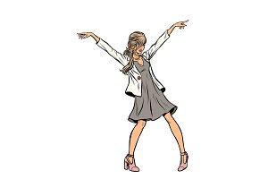 modern woman dancing young girl in a