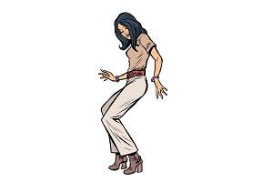 modern woman dancing eighties. disco