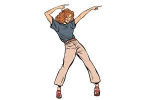 modern woman dancing. disco music