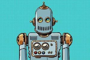 retro robot portrait