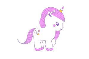 Cute unicorn. Fairy pony, magic hors