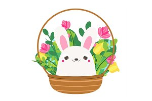 Cute Bunny in flowers. Easter rabbit