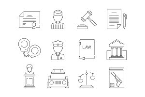 Law thin icon. Legal lawyer criminal