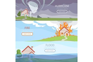 Disaster weather banners. Tsunami