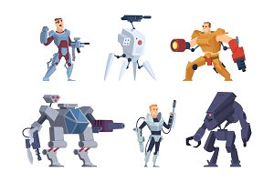 Robots warriors. Characters in