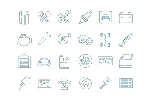 Car service symbols. Automotive