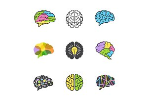 Brain colored symbols. Creative mind
