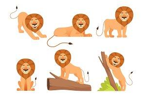 Lion cartoon. Wild jungle animal