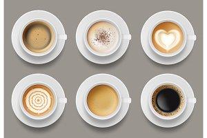 Coffee mug top view. Cappuccino