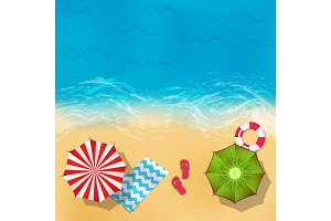 Vector summer beach landscape with