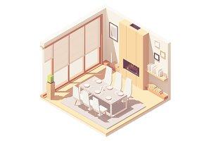 Isometric dining room interior