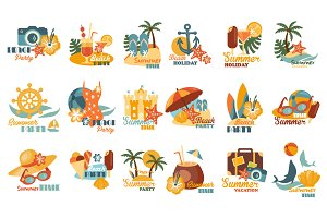 Beach And Summer Party Labels Set