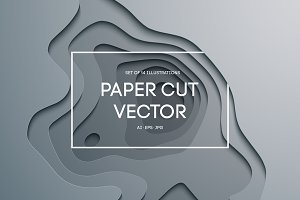 14 Paper Cut Vector Illustration