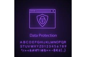 Data protection neon light icon