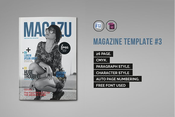 indesign magazine template 3 magazine templates on creative market. Black Bedroom Furniture Sets. Home Design Ideas