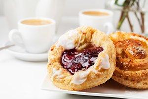 Breakfast setup with Danish pastries