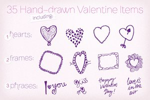 35 Hand-drawn Valentine Vectors