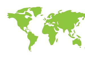 Hand drawn World Map green color