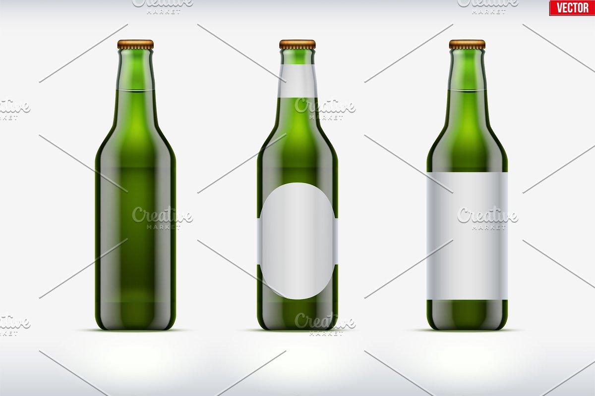 Craft beer bottle set mockup