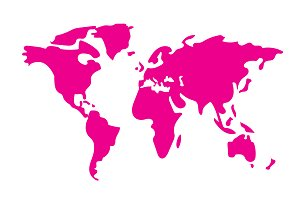 Hand drawn pink World Map vector