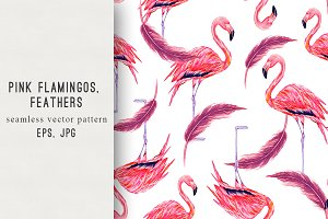 Pink flamingos, feathers pattern