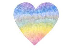 Color pencil drawing heart shape.