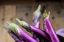 Baby eggplant. Natural purple.