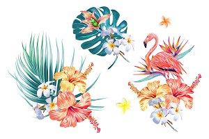 Tropical flowers,leaves illustration