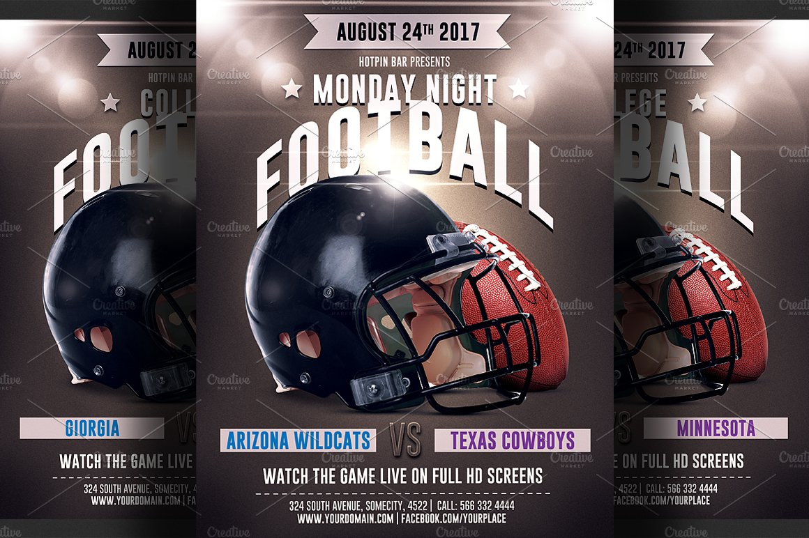 Football Game Flyer Template 2 Templates Creative Market