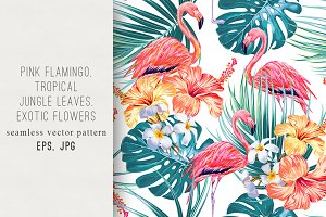 Tropical flowers,flamingo pattern