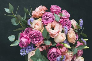 Bouquet of peonies and roses
