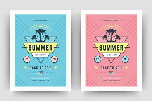Summer 90s Party Flyer Template