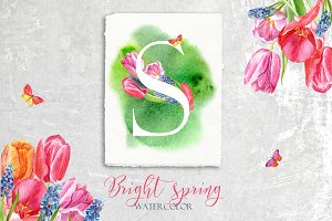 Bright spring / watercolor set