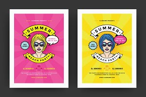 Summer 80s Party Flyer Template