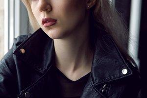 portrait of a girl in black lingerie