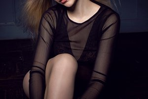 fashionable young sexy woman in blac