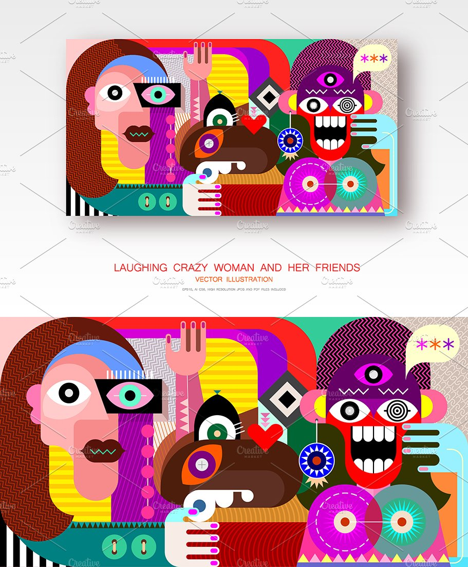 Laughing Crazy Woman Her Friends Contemporary Stock Vector (Royalty Free)  1315755944