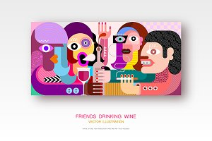 Friends Drinking Wine vector artwork