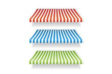 Vector colorful awnings for shop set