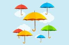 Vector colorful umbrellas fly
