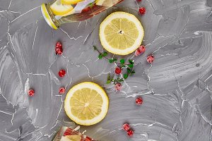 Detox water in bottles with