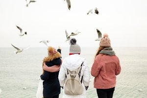 A group of people in winter clothes