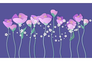 Paper cut 3d flowers banner in