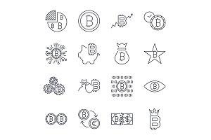 Bitcoin icons set for internet money