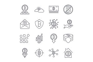Bitcoin different icons set for