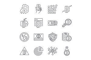 Bitcoin, Cryptocurrency icons thin