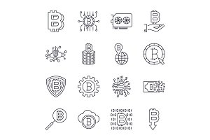 Set of vector bitcoin line icons