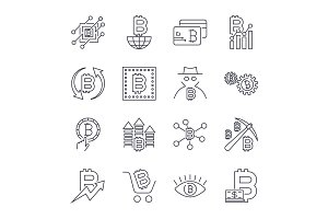 Blockchain, Cryptocurrency icons set
